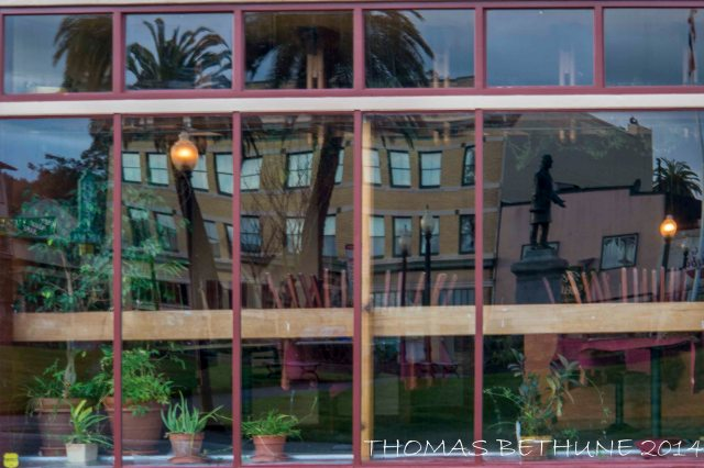 The Arcata Plaza Reflected in a Restaurant's Windows