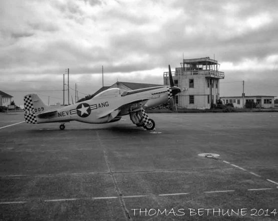 A P-51 Tied-down Near the Old Tower at ACV c. 1988