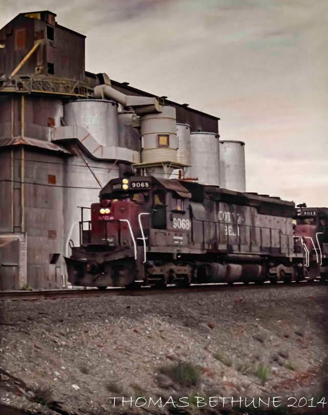 A Southern Pacific freight train somewhere near Red Bluff, California c. 1987