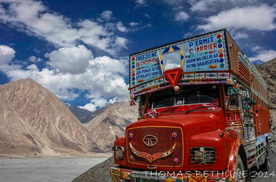 A fully decked out transport lorry descending into the Nubra Valley, 2008