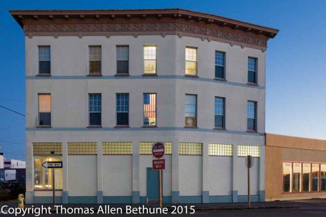 Another evening photograph of a Eureka building.